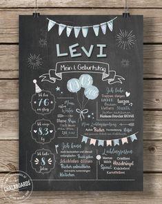 LoveAndLilies.de | Chalkboard zum 1. Geburtstag für Jungen in rauchblau/pfirsich - JETZT KAUFEN bei Chalkboards.de