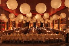 World's Fair Pavilion St Louis, MO  The use of paper ball lanterns creates a unique look for the historic venue. Exclusive Events, Inc.
