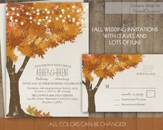 Rustic Fall Wedding Invitations  Autumn Oak Tree door NotedOccasions