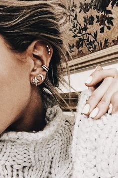 earring studs + mini earring hoops | ear piercing ideas