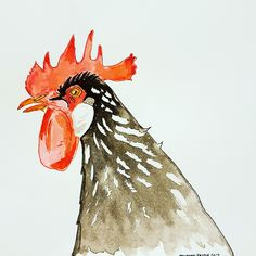 Rooster (or cockerel) drawn with dip ink pen and ink wash Sketches, Drawings, Painting, Illustration Art, Ink Drawing, Art, Ink, Draw