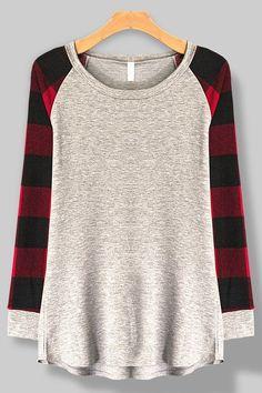 Plaid Cozy Plaid Sweater Knit Raglan Sleeve Casual Top Buffalo Plaid,  Casual Tops, Womens ea01cbd5d0