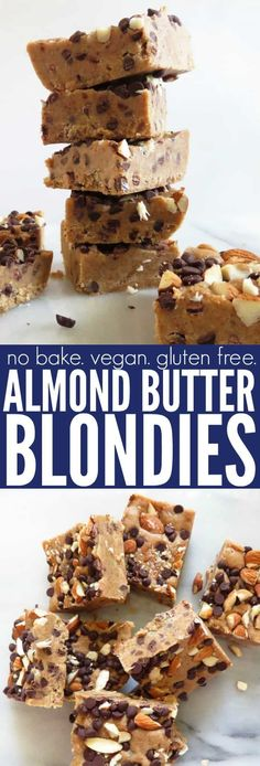 Easy and delicious No Bake Almond Butter Blondies made from only a handful of ingredients!! They're vegan, low glycemic, gluten free, and so fun! thetoastedpinenut.com