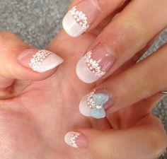 My Acrylic Wedding Nails ......Lace .... Something Blue.... French .... Manicure