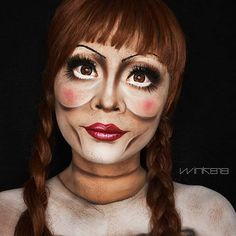 have made a list of 37 of the best Fresh Liquid Latex Halloween Makeup Costumes To Try and stylish ideas. There are many Halloween makeup costumes for all. Creepy Doll Costume, Creepy Doll Makeup, Scary Makeup, Costume Makeup, Cool Halloween Makeup, Halloween Eyes, Halloween Makeup Looks, Haunted House Makeup, Makeup Inspiration
