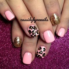 Pink and leopard nail
