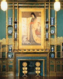 """James Abbott McNeill Whistler - """"The princess from the land of Porcelain"""", in situ in the Peacock Room, Freer Gallery of Art, Washington, D.C."""
