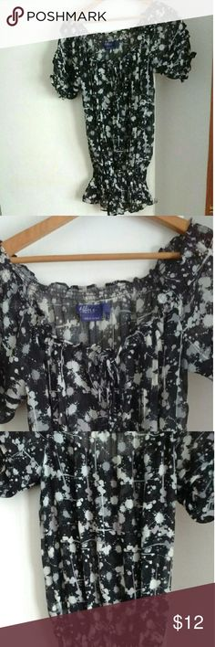 Max Azria Sheer Floral Peasant Style Top ***Extremely sheer black and gray flower patterned top***There is elastic at the bottom and on the sleeves***It has a peasant blouse look*** Wear on top of a tank with jeans*** Max Azria Miley Cyrus Tops Blouses