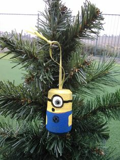 Minion ornament. Painted on champagne cork