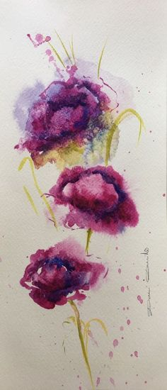 Aquarelle Originale Dam Domido fleurs Flower  Artprice Akoun watercolor