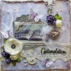 New Item Listing~ Reneabouquets-Blue Fern Studios Courtship Lane Premade Scrapbook Page 12 x 12, Blush.  Shabby Chic, Wedding, Mixed Media, Layout
