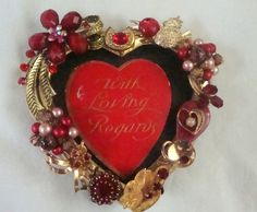 Valentine frame with vintage jewelry embellishment by FLBling, $35.00