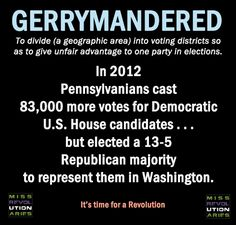 VOTER FRAUD...REPUBLICAN led states have been redistricting nationwide to unfairly sway balance in their favor.  This shouldn't happen in a true democracy. Stand Up We Need Your Vote!