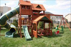 Backyard fort, backyard for kids, kids outdoor play, large backyard lands. Backyard Playground Sets, Backyard Swing Sets, Backyard Playset, Modern Backyard, Backyard For Kids, Playground Ideas, Backyard Fort, Large Backyard, Garden Kids