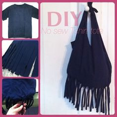 DIY Tutorial: T-Shirt Refashion / No sew fringe Tshirt tote bag - Bead&Cord DIY Bag and Purse Handbag Tutorial, Diy Handbag, Old T Shirts, Cut Shirts, Recycled Shirts, T-shirt Refashion, Clothes Refashion, Do It Yourself Inspiration, Diy Kleidung