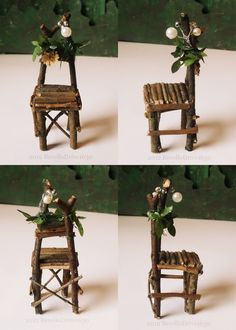 Fairy chair, yellow flower, big, dollhouse miniature 1/12