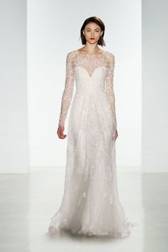 Cole. Hand-embroidered slim wedding gown with long sleeves.  Amsale Madison Avenue Flagship Salon Exclusive
