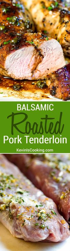 This Balsamic Roast Pork Tenderloin looks you spent a lot. This Balsamic Roast Pork Tenderloin looks you spent a lot of This Balsamic Roast Pork Tenderloin looks you spent a lot of time on it but for Christmas Healthy Recipes, Meat Recipes, Cooking Recipes, Pork Loin Recipes Oven, Recipies, Healthy Pork Tenderloin Recipes, Chicken Recipes, Pork Recipes For Dinner, Garlic Recipes