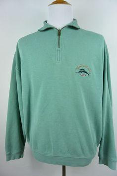 Tommy Bahama L Large Teal Blue Green Half 1/2 Zip Marlin Relax Sweater #645 #TommyBahama #12Zip