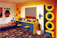 Early 1970s bedroom design.