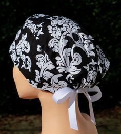 Womens Surgical Scrub Hat- The Mini with Ribbon Ties- Black and White  Damask. Gorros Quirofano ... 165f701a2e0
