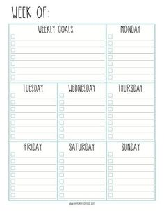 Free Weekly Goals Checklist