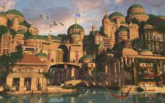 Theed by JacobCharlesDietz on DeviantArt Fantasy City, Fantasy Castle, Fantasy Places, Fantasy World, Fantasy Art Landscapes, Fantasy Landscape, Fantasy Concept Art, Fantasy Artwork, Fantasy Setting