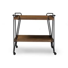 $156 Baxton Studio Alera Rustic Industrial Style Antique Black Textured Finish Metal Distressed Ash Wood Mobile Serving Bar Cart YLX-9040