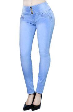 Womens Comfort Faded In Blue Denim Ultra Stretchy Skinny Jeans Full Length (SIZE : 7, LT.WASH DENIM)