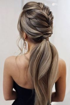 Pony Hairstyles, Prom Hairstyles For Long Hair, Elegant Hairstyles, Pretty Hairstyles, Hairstyle Ideas, Homecoming Hairstyles, Everyday Hairstyles, Hairstyles For Dresses, Straight Wedding Hairstyles