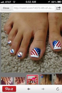 Stripes + Bling   17 Fourth of July Toe Nail Designs for Summer
