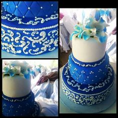 #chocolatecake #blue #white #pipping #3layers