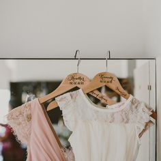 Personalized bridesmaid hangers.