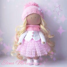 Купить Зефирная Интерьерная куколка - кукла ручной работы, кукла, кукла в подарок, кукла текстильная