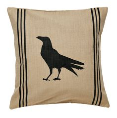 New Primitive Country Folk Art BLACK CROW PILLOW Grainsack Decorative 16""