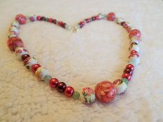 Spring Rosebush Floral Pink and Green Beaded by OnPurposeArtifacts