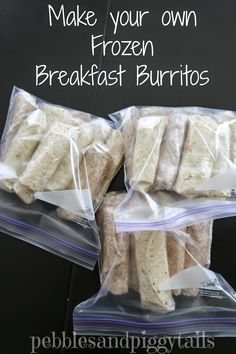 DIY Frozen Breakfast Burritos for about cents a piece. See how we make our own healthy and quick breakfast burritos. Frozen Breakfast, Make Ahead Breakfast, Breakfast Recipes, Breakfast Sandwiches, Breakfast Options, Breakfast Healthy, Eat Breakfast, Dinner Recipes, Frozen Burritos