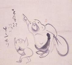 仙厓義梵『指月布袋画賛』  Gibon Sengai | Hotei Pointing At the Moon