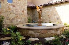 Angel Fountain, Limestone Basin Fountain GreenScapes Landscaping and Pools Austin, TX