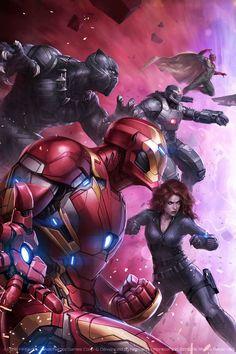 Iron Man, Black Panther, War Machine, Black Widow and Vision (Civil War)