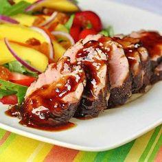 Rum and spice glazed pork tenderloin