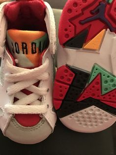 b6fba940db41fd BABY AIR JORDAN RETRO 7 HARE S LOLA TRUE RED INFANT HARD BOTTOM SIZE 3C
