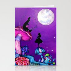 Alice in Wonderland with Caterpillar  Blank Card  by AnnyaKaiArt, $3.95