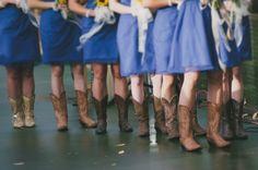 Bridesmaids in cowboy boots keep it country | rusticweddingchic.com