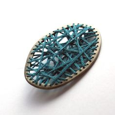 Sewn Pin Brooch in Sterling Silver and Embroidery Thread Turquoise Cyan