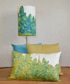 """Lumbar Linen Knife Edge Pillow Cover w/ Zipper in Olive on Ivory (Green, Blue, Teal, White) """"Wisteria"""" - Botanical Design Made in Maine $70"""