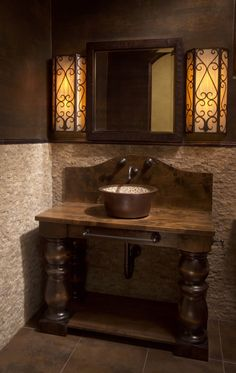 tuscan bathroom decorating ideas - Internal Home Design Tuscan Bathroom, Rustic Bathrooms, Home Design, Townhouse Interior, Wood Sink, Pot Rack Hanging, Medieval, Tuscan Decorating, Decorating Ideas