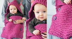 Pour accueillir votre tout-petit tout en douceur, tricotez lui un sac confortable tout au point mousse, le point le plus facile à réaliser, même pour les débutantes !