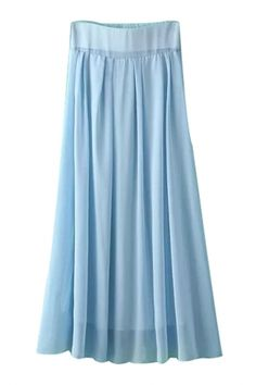 Flowy Solid Pleated Midi Skirt - OASAP.com