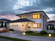 PROIECT CD-1045 « Firmă de construcții case 2 Storey House Design, Modern House Design, House Outside Design, Mediterranean Style Homes, Construction Cost, Architect House, Facade House, House Exteriors, Home Design Plans
